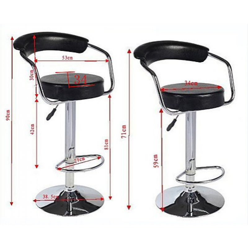 2x Black Pu Leather Half Moon Kitchen Bar Stools Ad