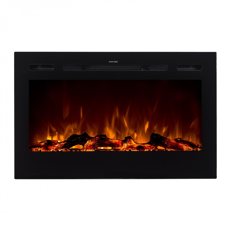 """Wall Mount Electric Fireplace Or Recessed Within Designs: 36"""" Black Built-in Recessed / Wall Mounted Heater Electric"""