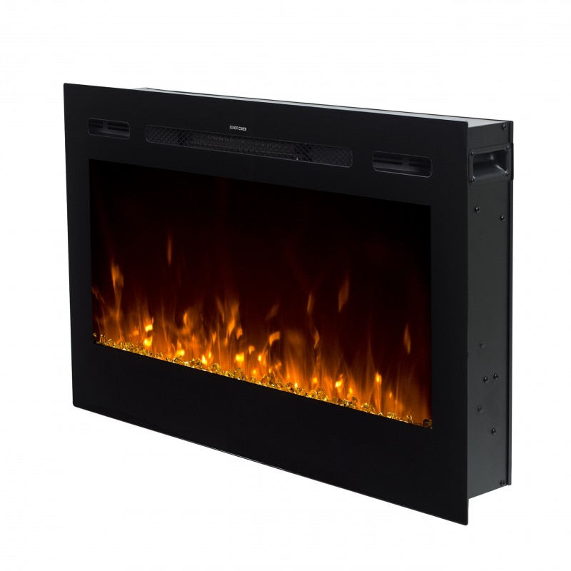36 Black Built In Recessed Wall Mounted Heater Electric Fireplace