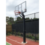 55 Inch In-ground Basketball Slam Dunk System Tempered Glass Backboard