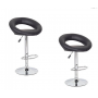 2x Black PU Leather Circular Kitchen Bar Stools (AD)