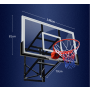 Wall-Mount Basketball Backboard Height Adjustable 136x81cm